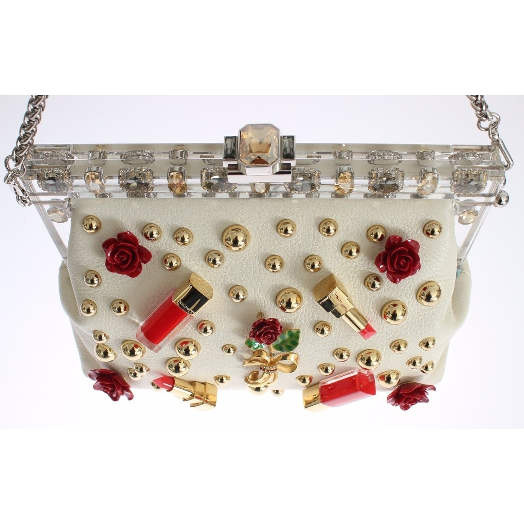 f92cbd6a27bd Shop Dolce   Gabbana Dolce   Gabbana Purse VANDA Beige Leather Crystal  Lipstick Roses - One size - Free Shipping Today - Overstock - 16714908