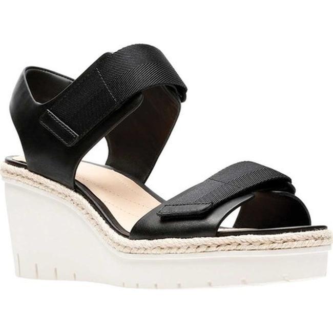 8cd970c5dccb Shop Clarks Women s Palm Shine Wedge Sandal Black Leather - Free ...