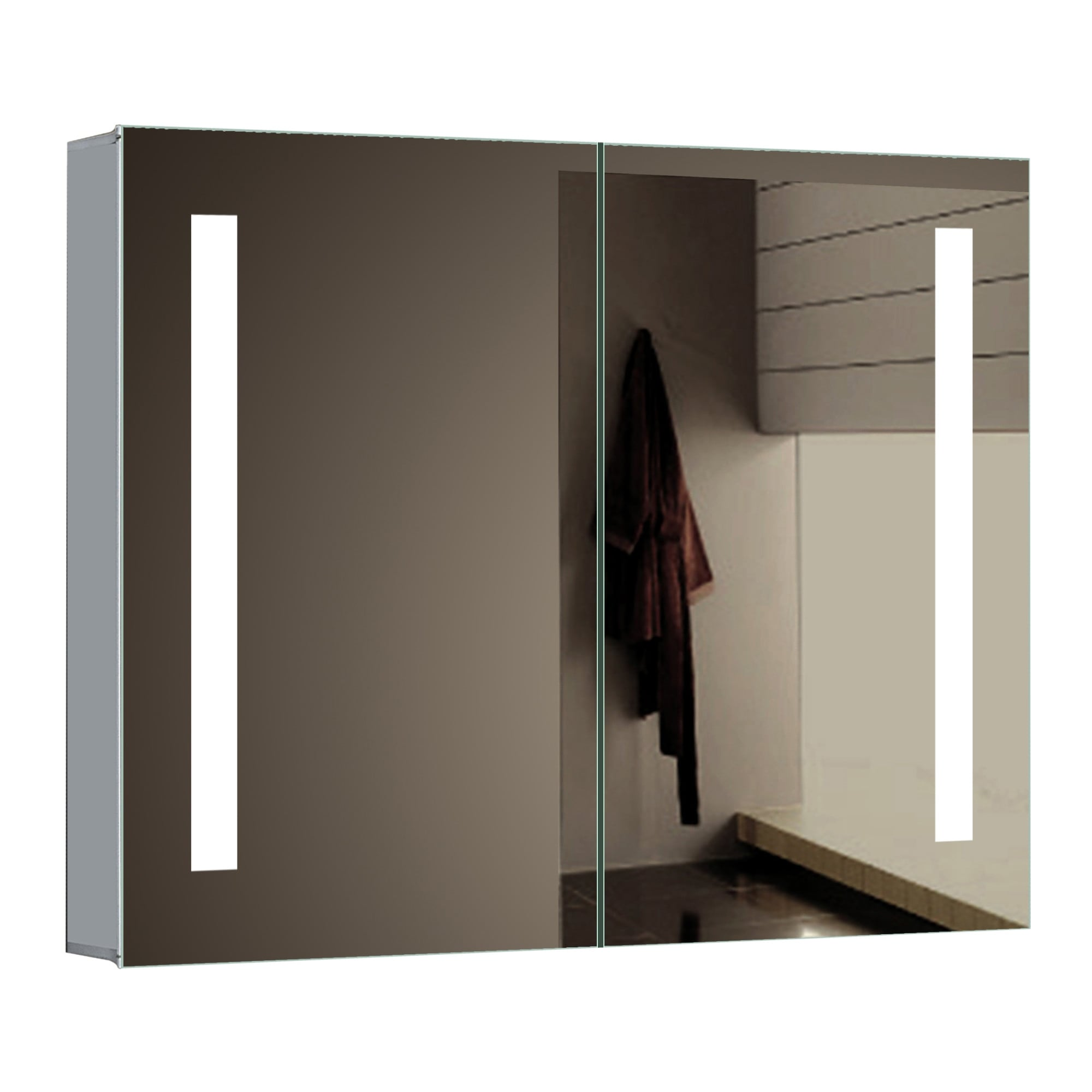 Picture of: Shop Miseno Mmc3026led 30 W X 26 H Rectangular Frameless Wall Mounted Medicine Cabinet With Led Lighting Mirrored N A Free Shipping Today Overstock 17325787