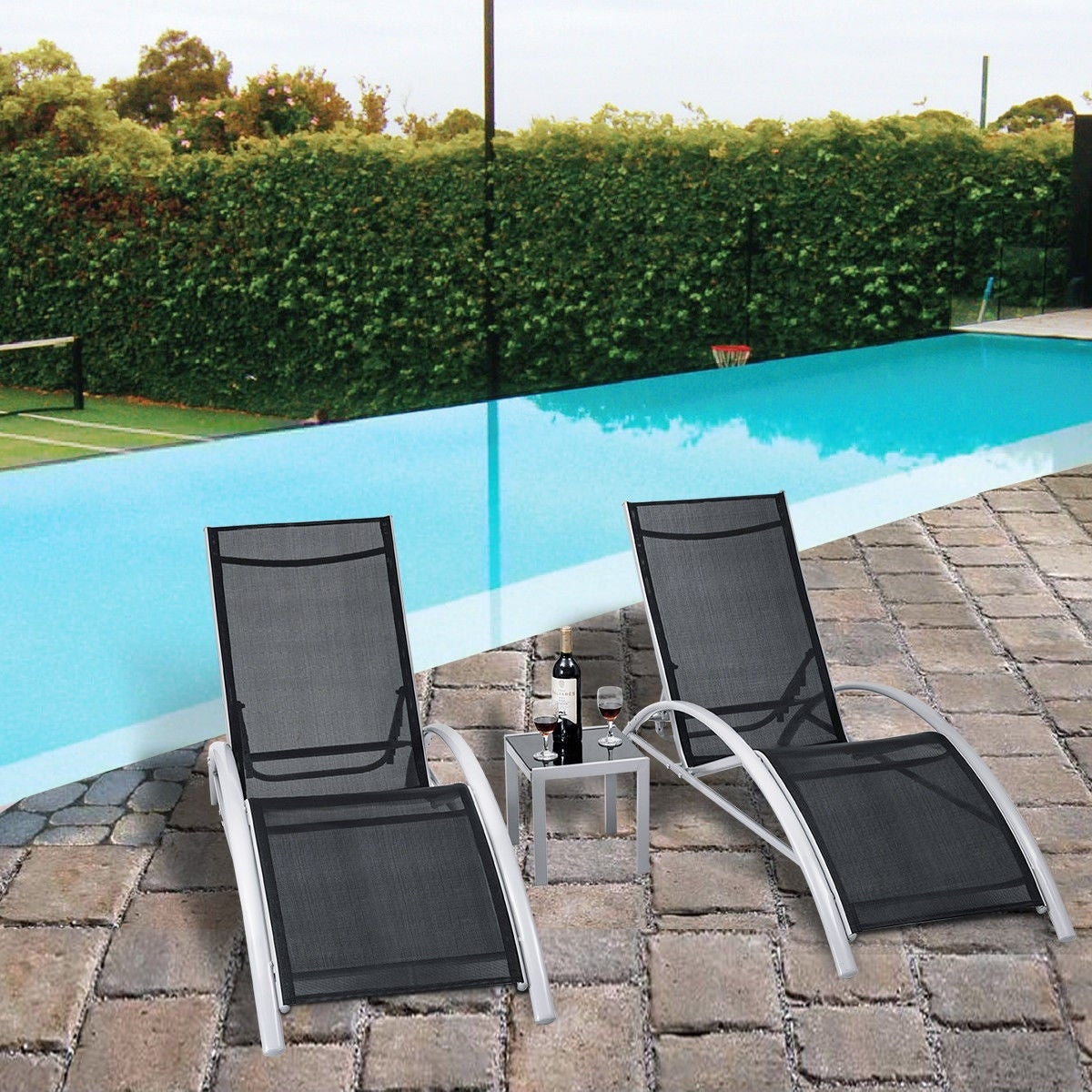 Super 3 Pcs Outdoor Patio Pool Lounger Set Reclining Garden Chairs Glass Table Interior Design Ideas Pimpapslepicentreinfo