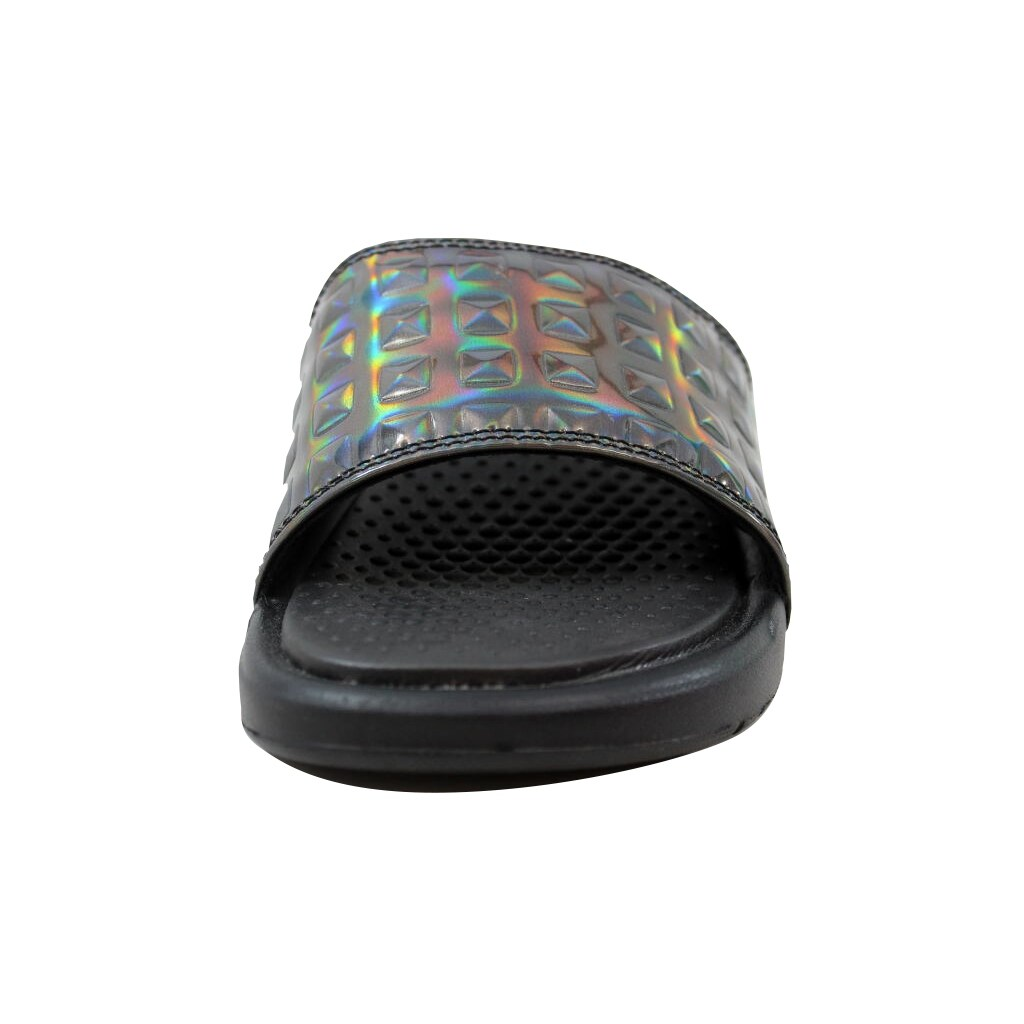 Nike Women's Benassi JDI Ultra Premium Black/Black-Silver 818737-003 Size 5  - Free Shipping Today - Overstock.com - 26918451