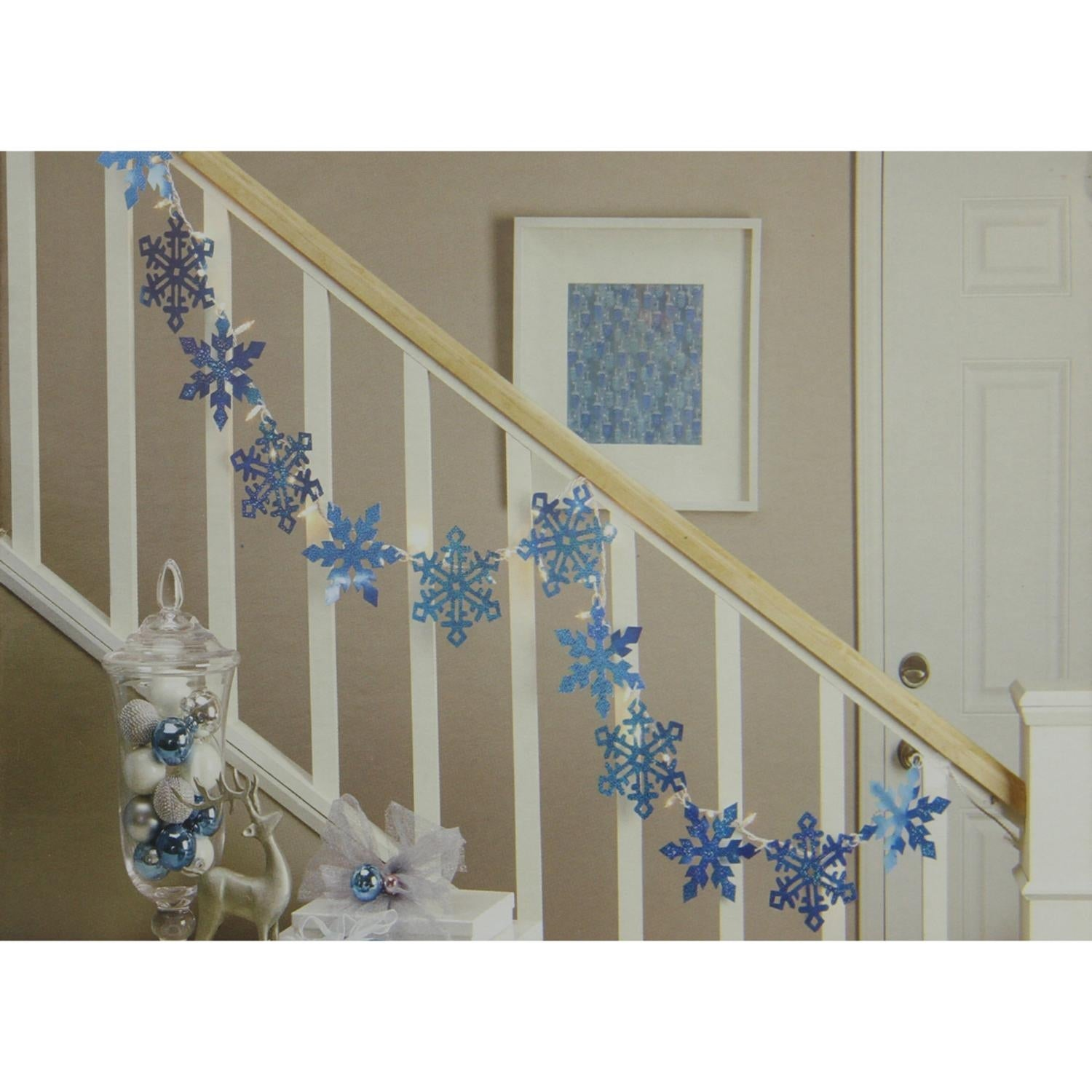 9.9\' Blue Holographic Snowflake Christmas Light Garland with 35 ...
