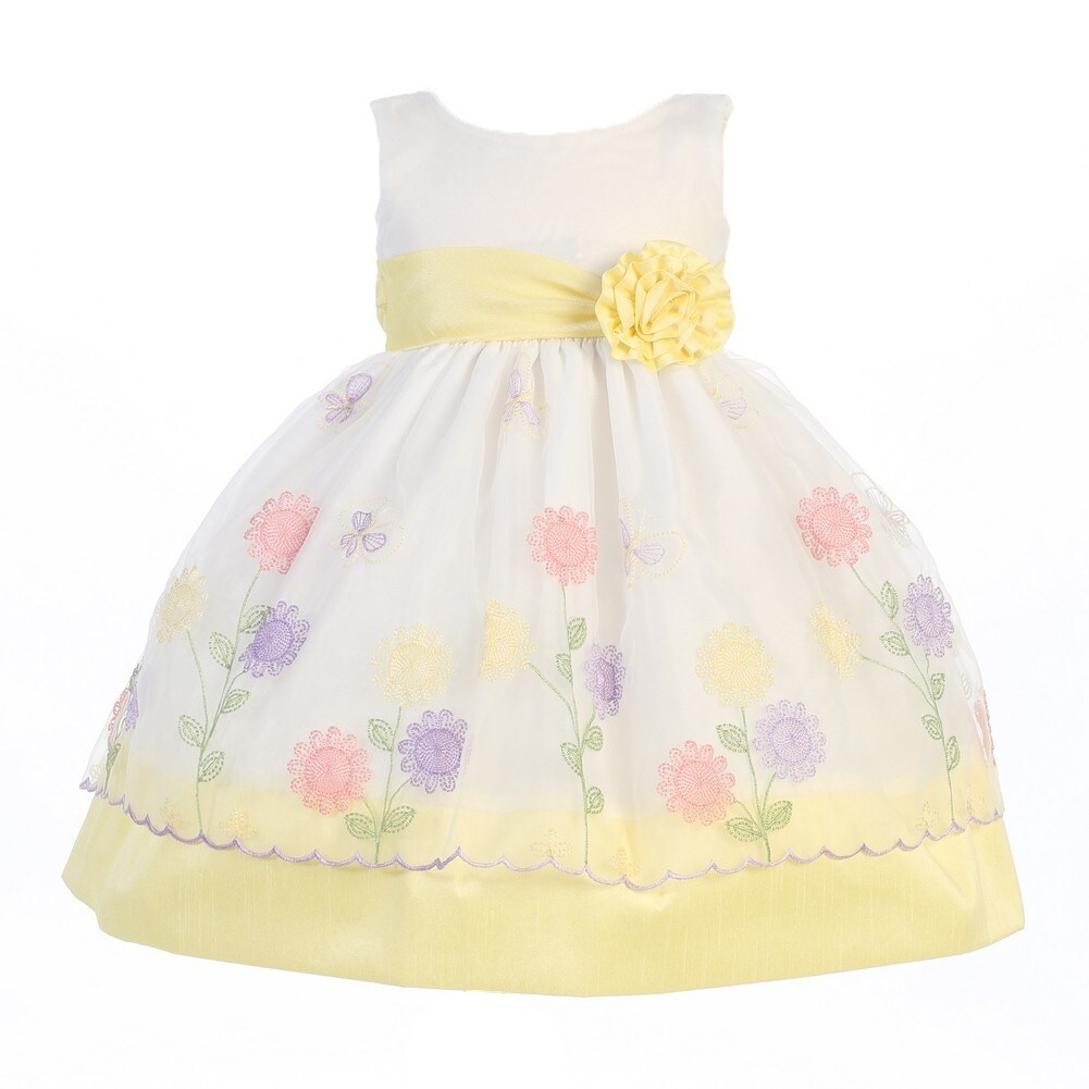 40eaa269006 Shop Girls Yellow Organza Poly Silk Trims Flower Girl Easter Dress 7 - Free  Shipping Today - Overstock - 18175720