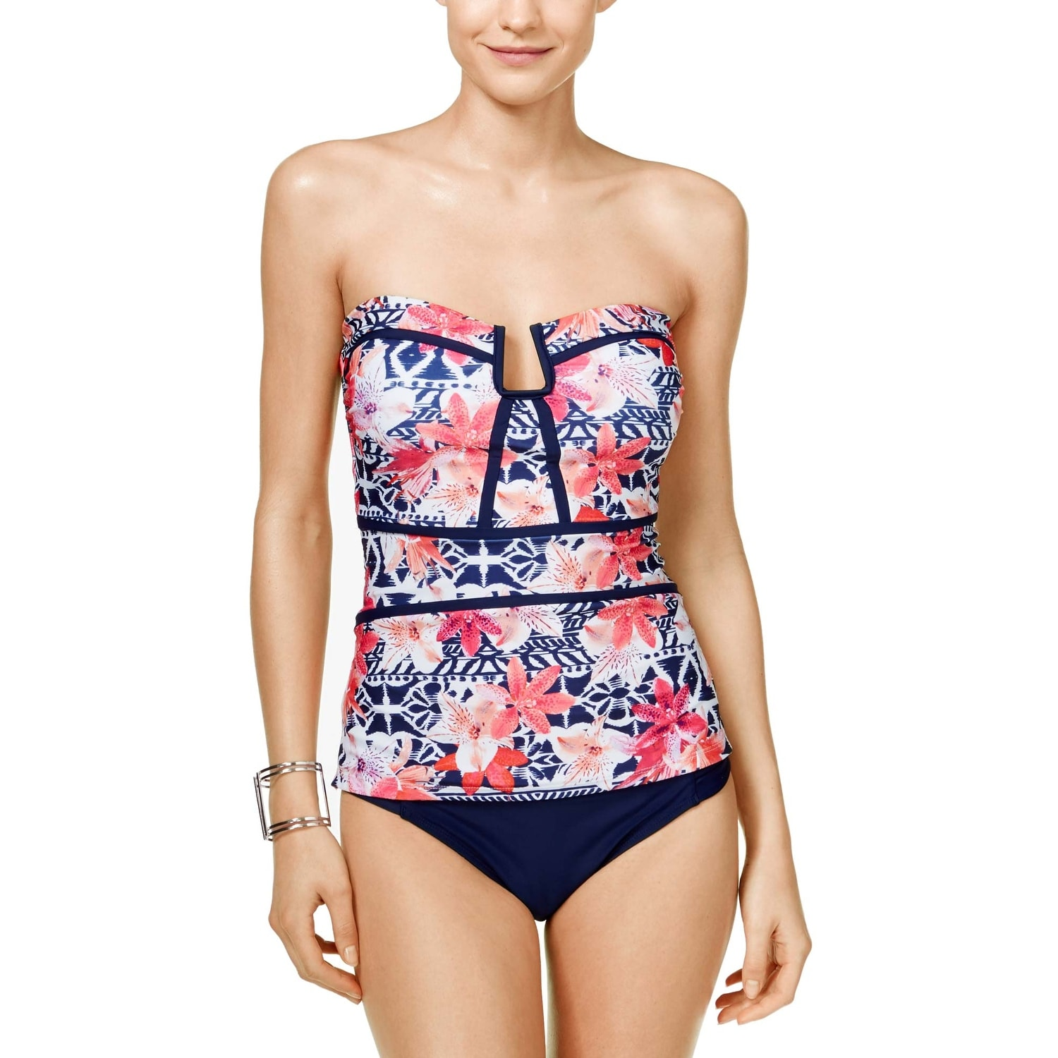 55d44adbbbfb8 Shop Island Escape Womens Como La Flor Printed Strapless Tankini Top 14  Navy Swimsuit - Free Shipping On Orders Over $45 - Overstock - 22316100