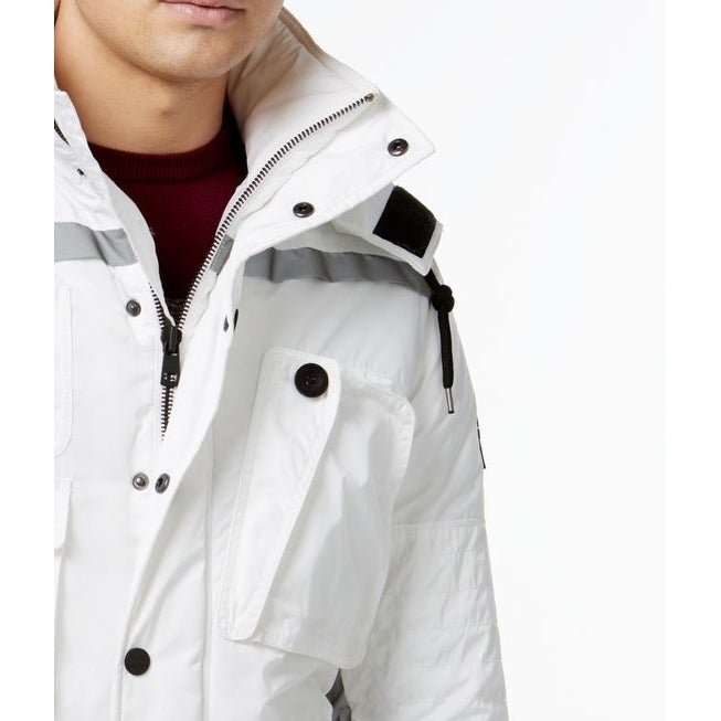 456c7fa58 DKNY NEW White Reflective Mens Size Large L Multi Pocket Parka Jacket