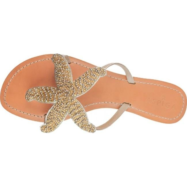 fede9de23f704 Shop Aspiga Women s Starfish Beaded Sandal Gold Natural Leather - Free  Shipping Today - Overstock - 17733563
