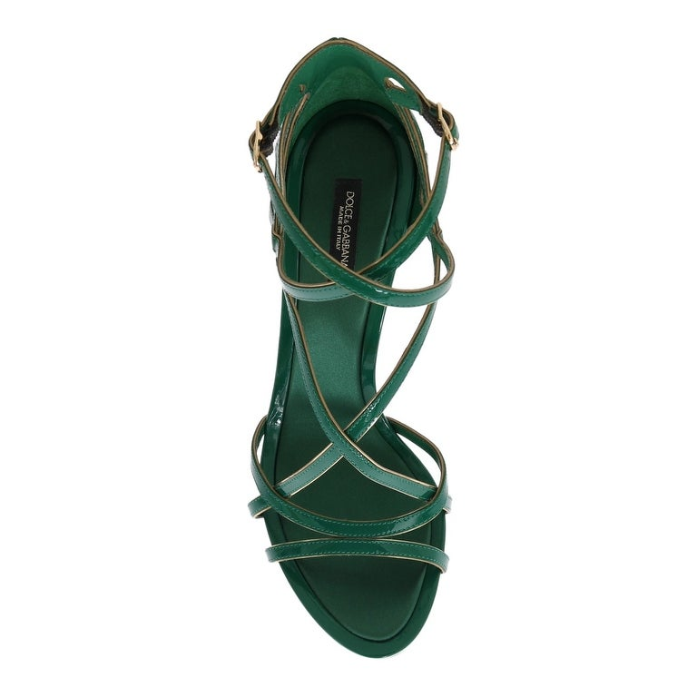 6941aca02e19 Shop Dolce   Gabbana Dolce   Gabbana Green Patent Leather Strap Sandals -  eu39-us8-5 - Free Shipping Today - Overstock - 21509461