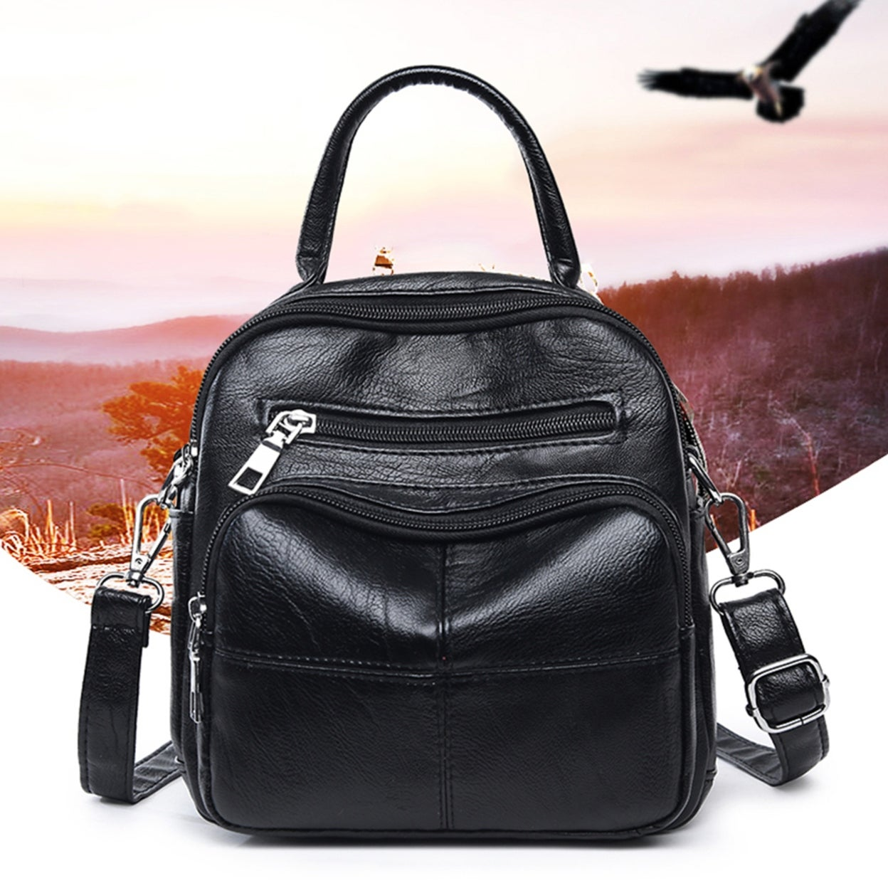 ff168a9879 Shop Women Fashion Faux Leather Zipper Backpack Travel School Shoulder Bag  Handbag - Free Shipping On Orders Over  45 - Overstock - 23175238