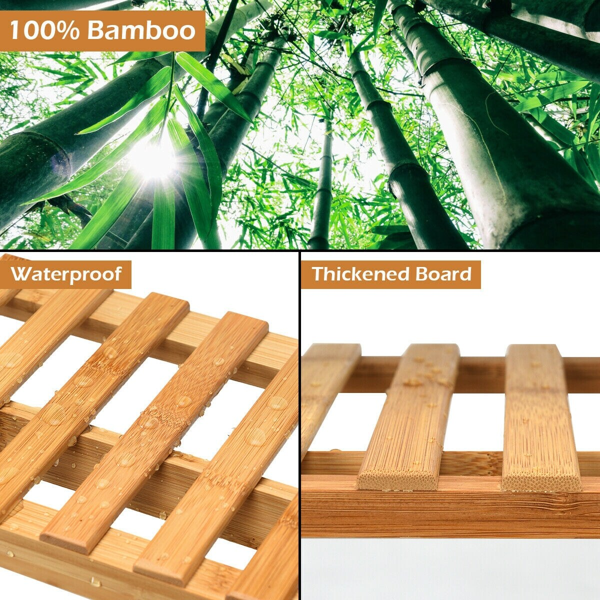 Costway 3 Tier Bamboo Hanging Folding Plant Shelf Stand Flower Pot Display  Rack Bookcase - Raw Bamboo Color