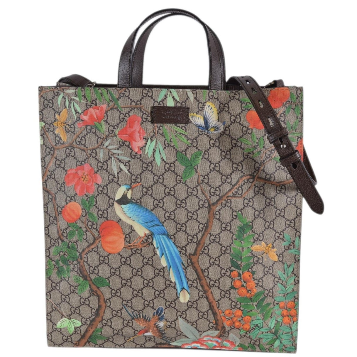 9f2cbd39cab Shop Gucci Women s 450950 GG Supreme Blooms Birds Floral Crossbody Purse  Tote - Beige Brown - Free Shipping Today - Overstock - 27545157