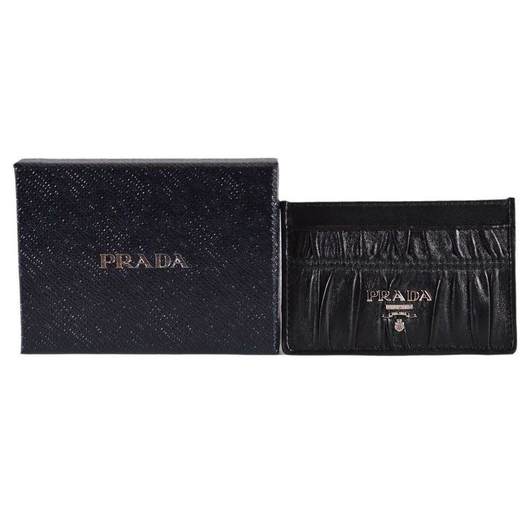 dd8b77be3687 Shop Prada Women's 1MC208 Black Ruched Calf Leather Metal Card Case ID  Wallet - S - Free Shipping Today - Overstock - 27397624