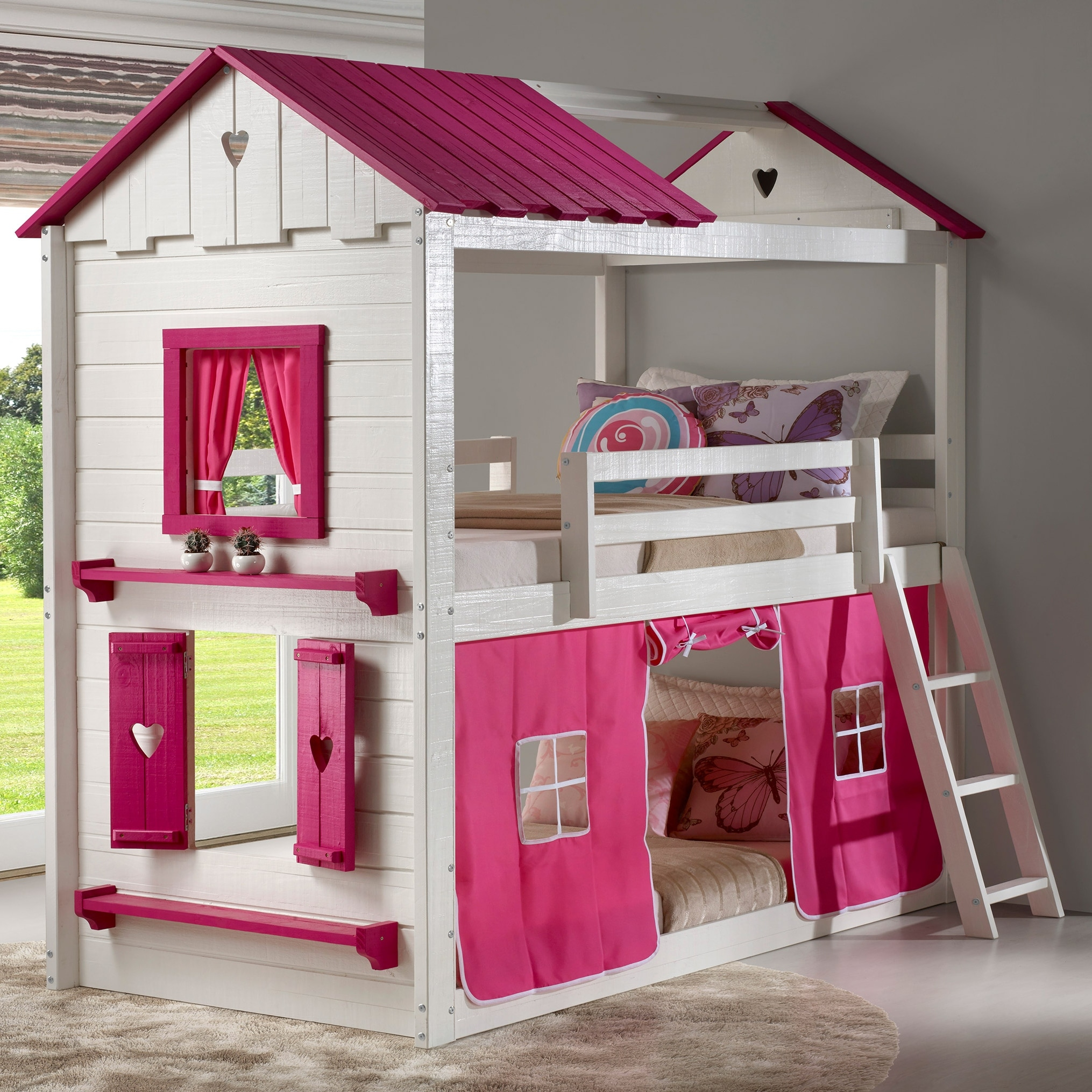 Sweetheart White And Pink Twin Over Twin Bunk Bed With Tent On Sale Overstock 28167464