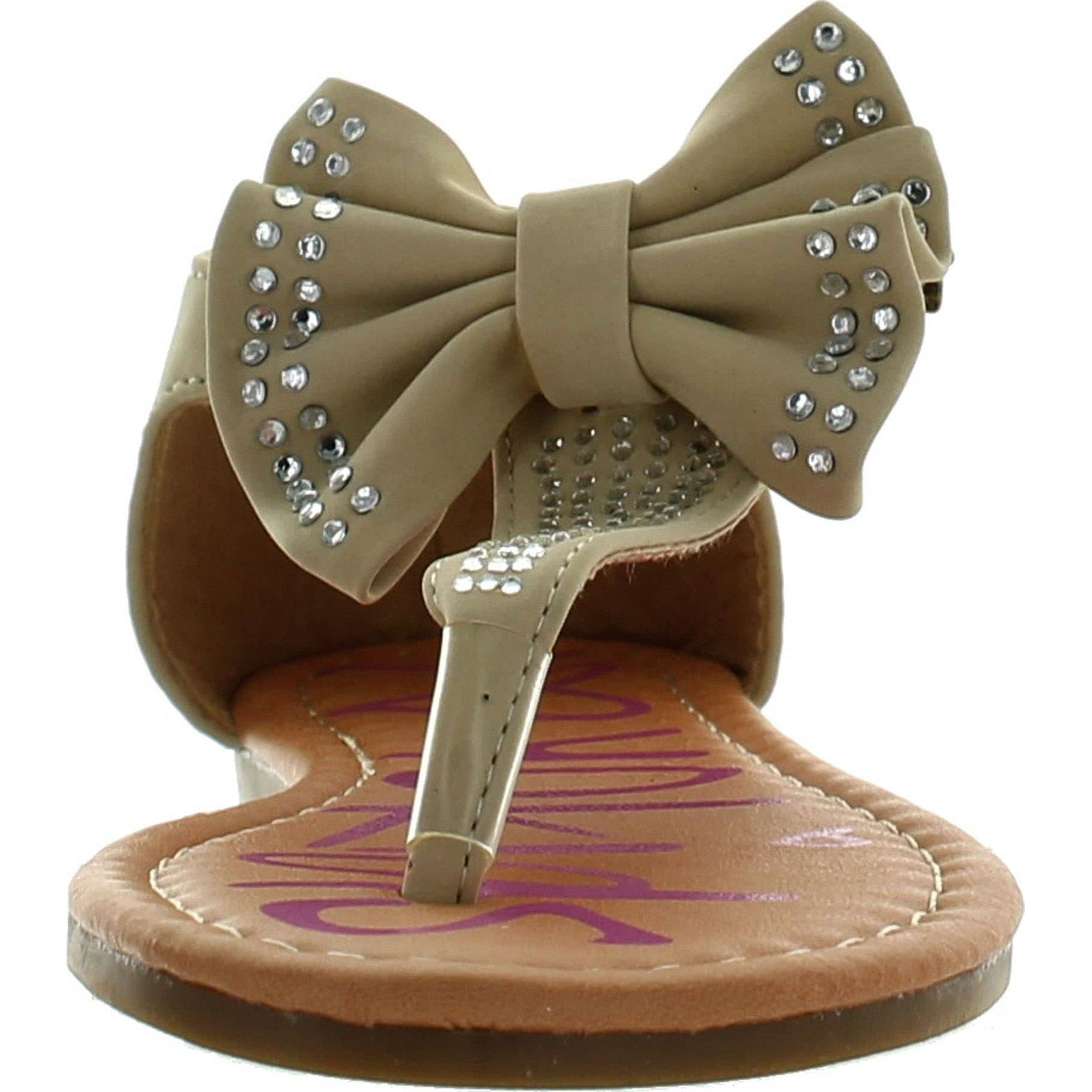 dac47095707 Shop Yokids Amanda-15 Little Girls Flat Thong Sandals With Bow And  Rhinestones - Free Shipping On Orders Over  45 - Overstock - 14381649