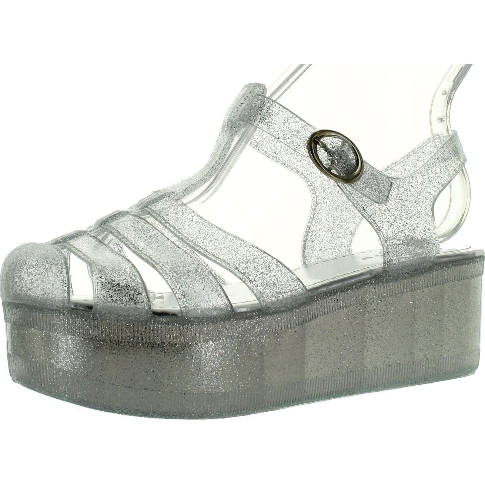 35f3f68c0b60 Shop Bamboo Womens Klarissa-01 Glitter Flatform Jelly Shoes - Free Shipping  On Orders Over  45 - Overstock - 14312456