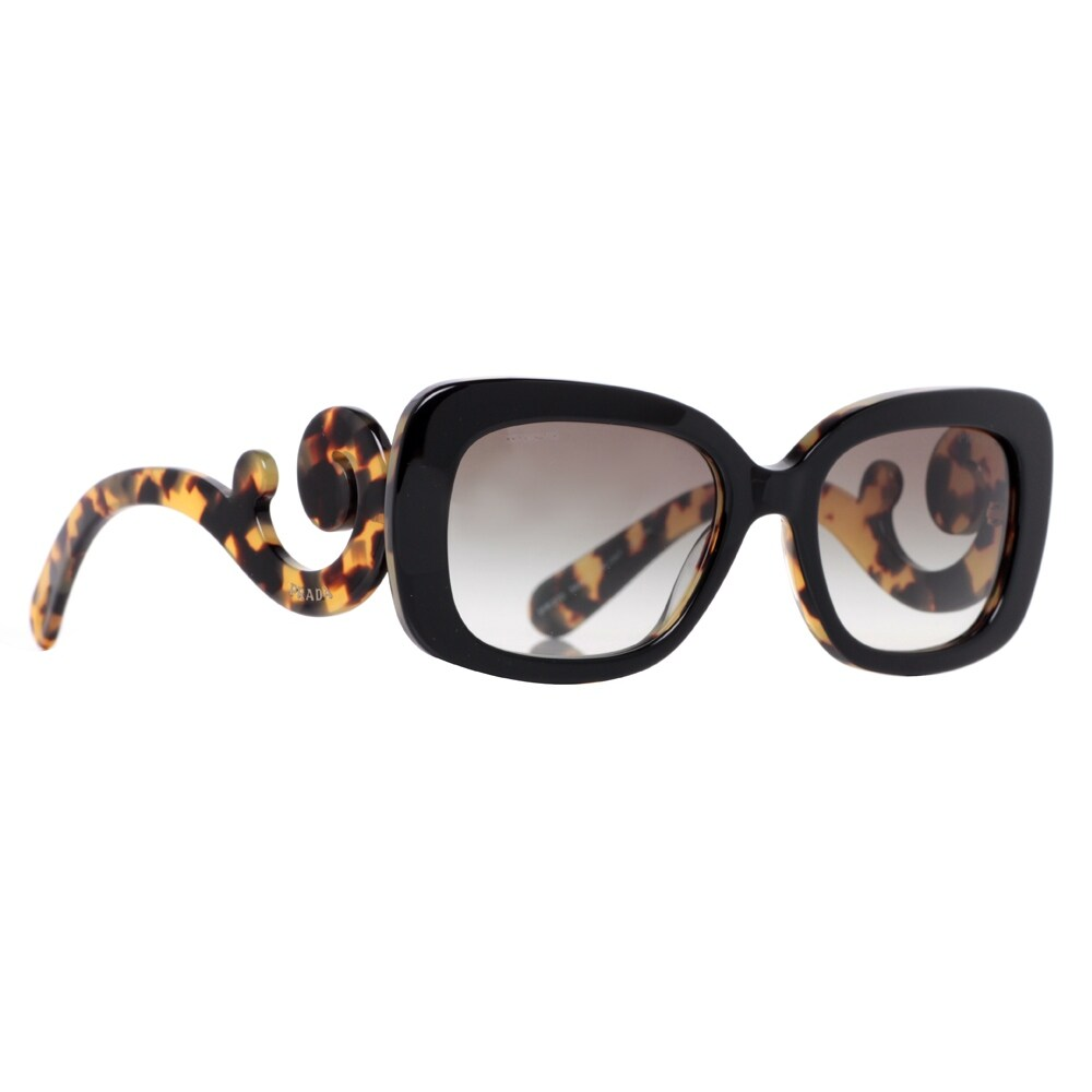 85ac990b86c7 ... purchase shop prada spr 27o nai 0a7 black havana brown womens baroque  swirl square sunglasses black