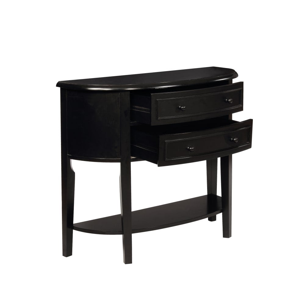 Powell Home Fashions 502 515 Demilune 37 9 10 Inch Wide 2 Drawer Console Table Antique Black N A Free Shipping Today 25719385