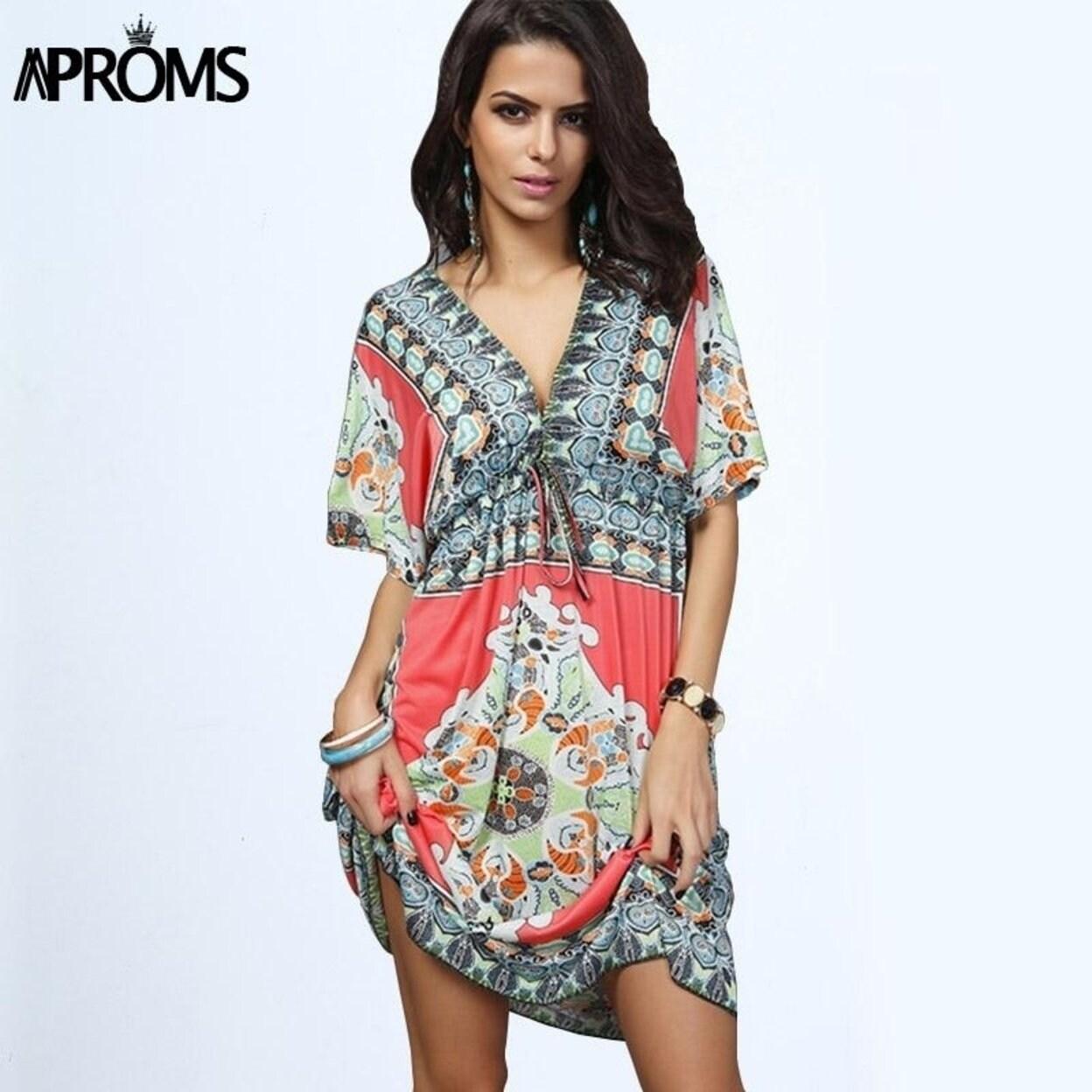 fa78f34f75a Shop Boho Summer Women Dress Hot Loose Sundresses Deep V Neck Dashiki Print  Tunic Beach Dresses Big Size 2Xl Woman Sundress Robe - Free Shipping On  Orders ...