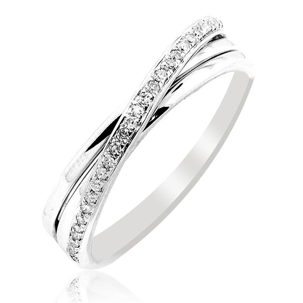 Shop 1 10cttw Diamond Wedding Band Ring Criss Cross 10k White Gold
