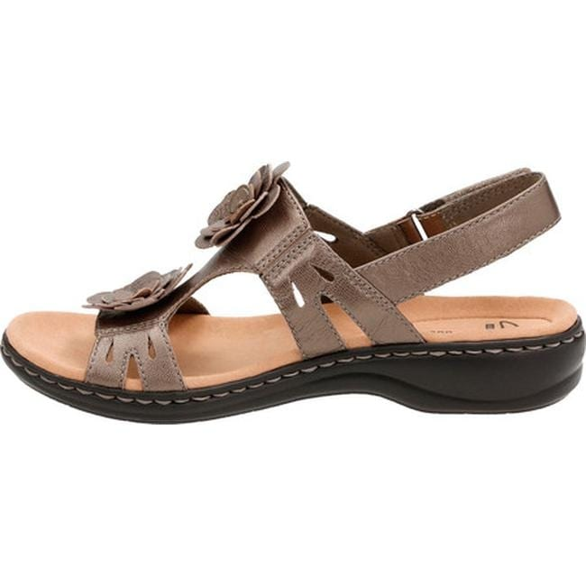 ef097a8723c0 Shop Clarks Women s Leisa Claytin Strappy Sandal Pewter Metallic Leather -  Free Shipping On Orders Over  45 - Overstock - 14201459