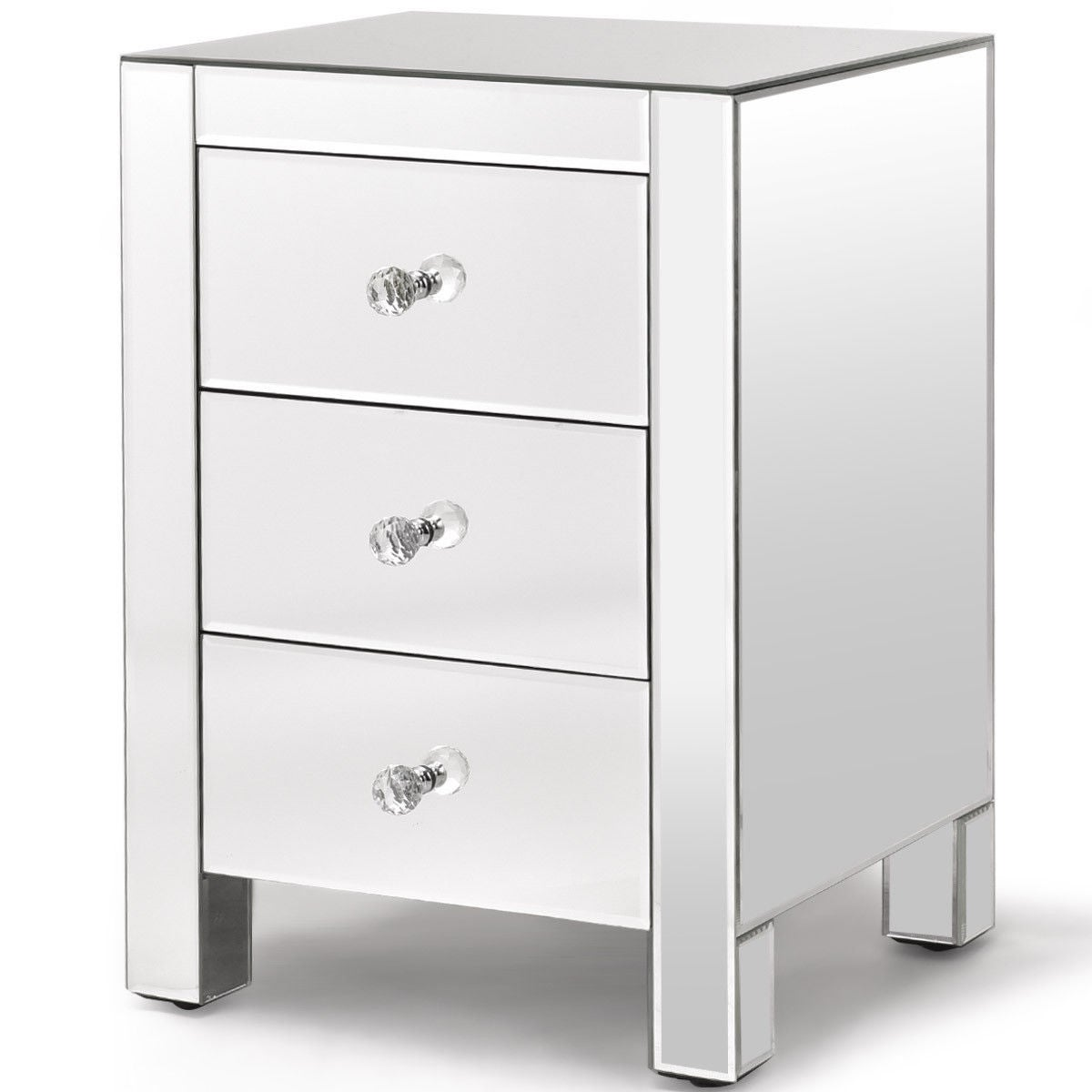 Shop Costway Mirrored Nightstand 3 Drawer Modern Mirror End Table Storage  Accent Cabinet   Free Shipping Today   Overstock.com   21010004
