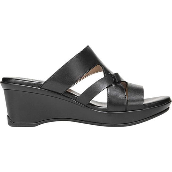 7ed4650322fe Shop Naturalizer Women s Vivy Slide Black Leather - On Sale - Free Shipping  Today - Overstock - 21691967