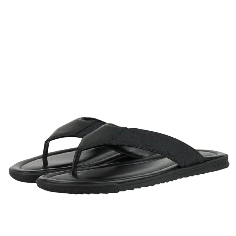 f8a478df1 Shop Gucci Guccisisma Pattern Black Leather / Rubber Sandals 353765 1000 - Free  Shipping Today - Overstock - 28031781