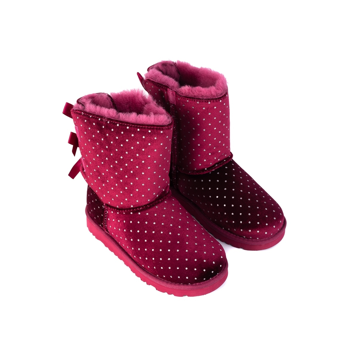742736a0dc6 UGG Kids Girls Red Suede Bailey Bow Starlight Polka Dot Boots US2~RTL$140