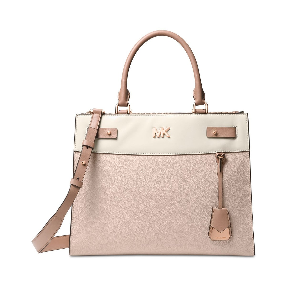 81f4adf37a82 MICHAEL Michael Kors Reagan Large Leather Satchel Soft Pink/Light  Cream/Fawn - One Size