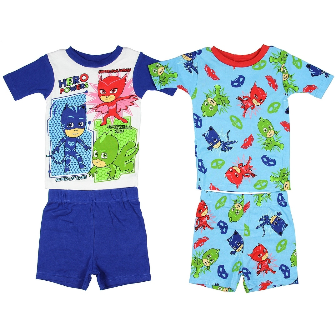 ca03ec4613bd8 Shop PJ Masks Boys' Cotton 4-Piece Pajama Set Hero Powers Disney Junior TV  - Free Shipping On Orders Over $45 - Overstock - 17169624