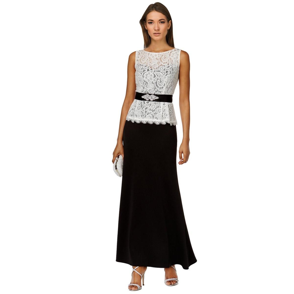 Shop SLNY SL Fashions Contrast Lace Peplum Evening Gown Dress - 4 ...