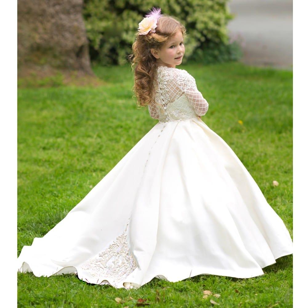 10b259532bc Shop Girls Ivory White Pearl Adorned Helena Flower Girl Dress 7-10 ...