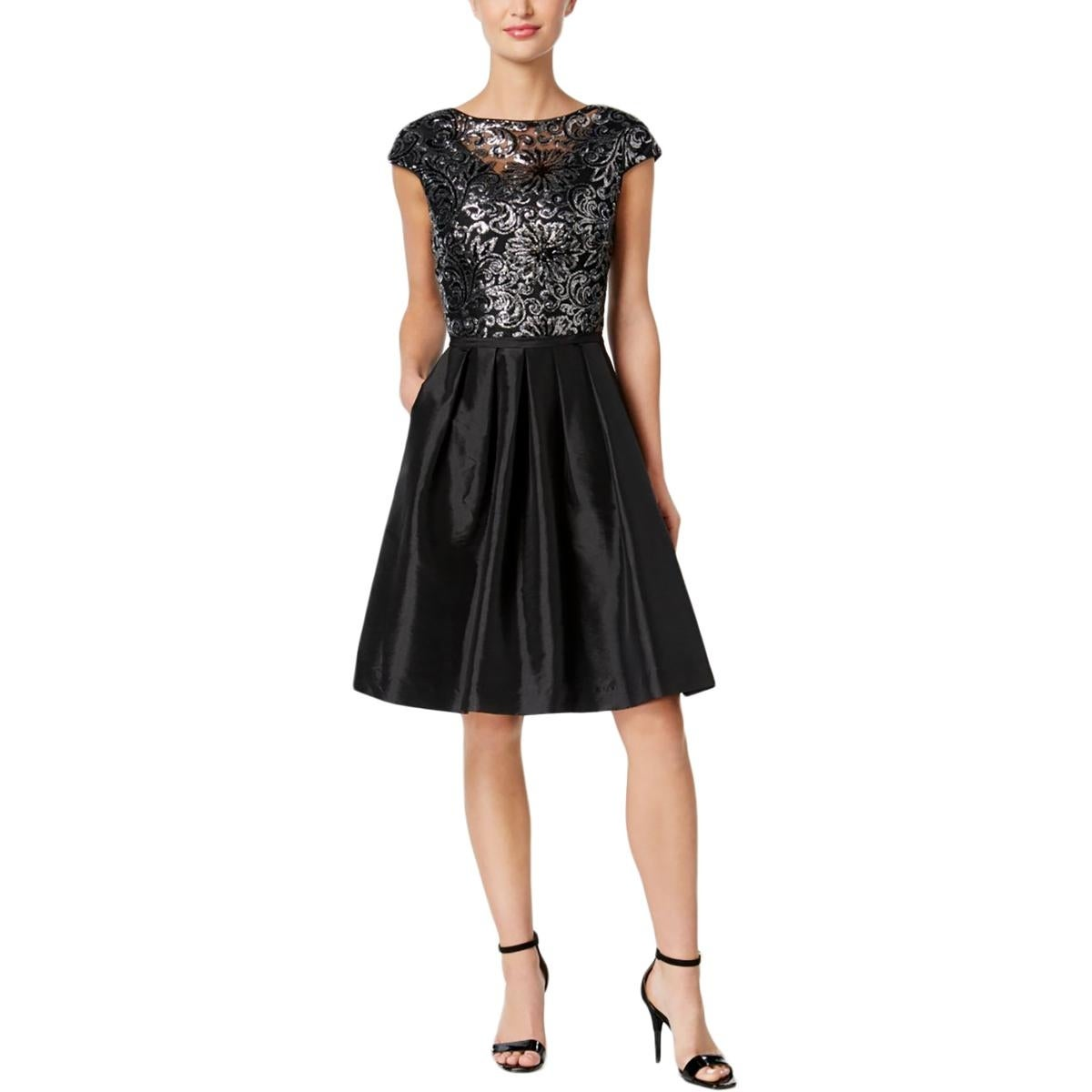Calvin Klein Womens Cocktail Dress Mesh Sequined - Free Shipping ...