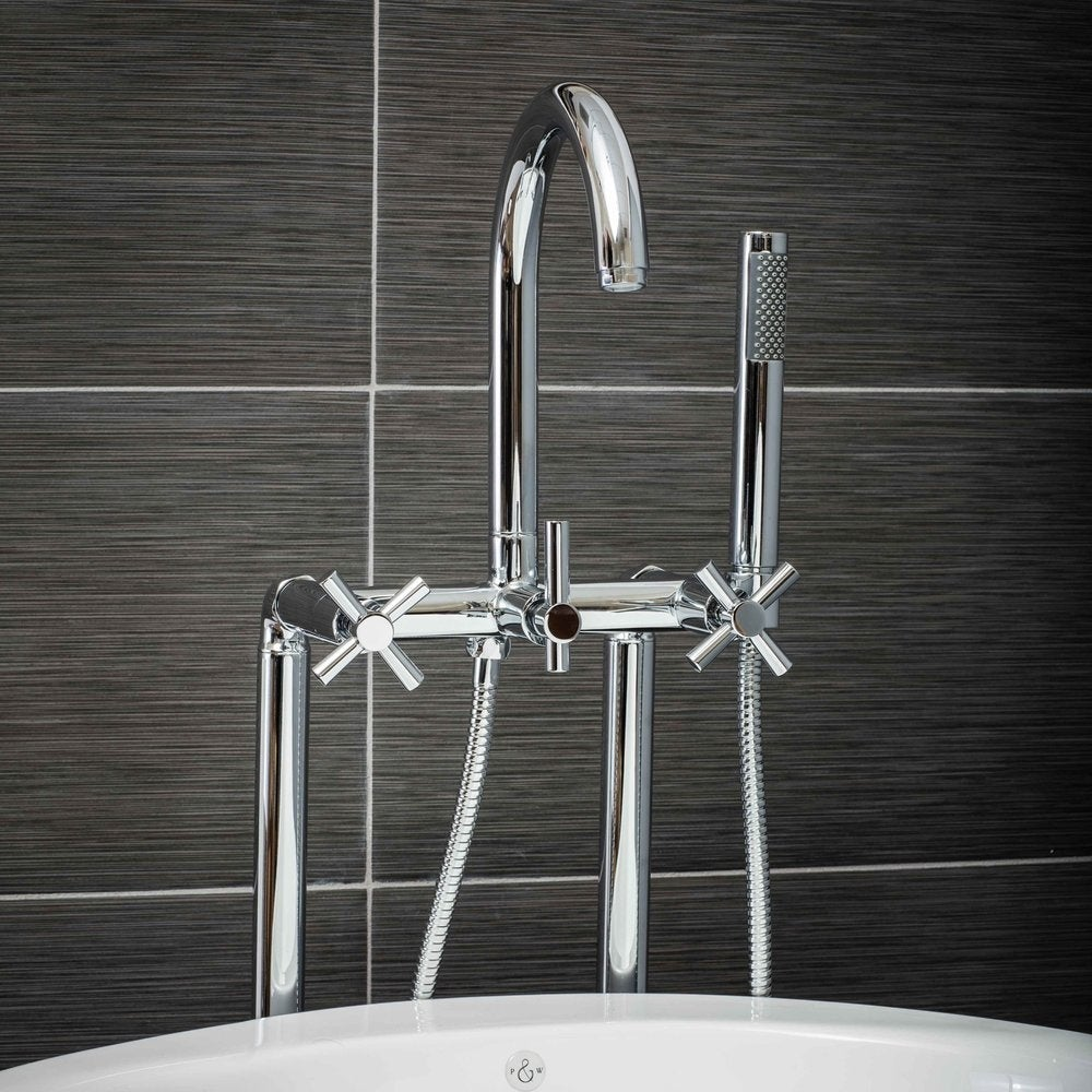 Shop Pelham & White Luxury Tub Filler Faucet, Modern Design, Floor ...