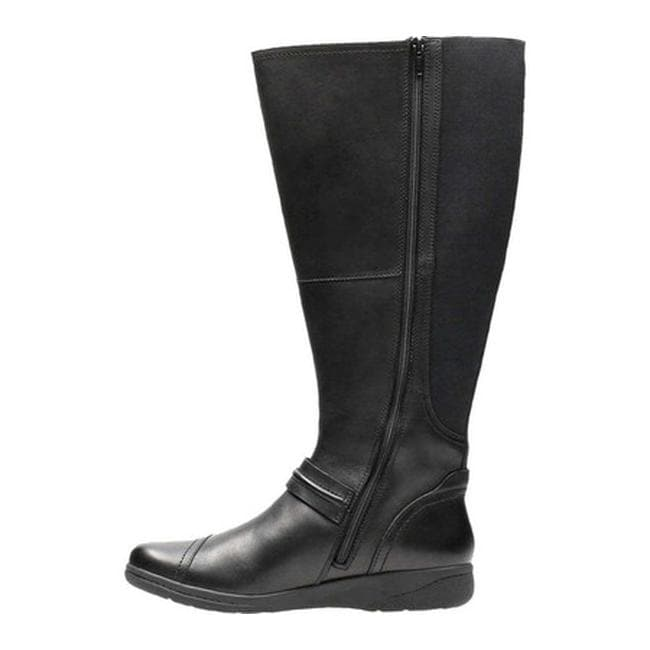 e6319586bfc Shop Clarks Women s Cheyn Whisk Wide Calf Knee High Boot Black Full Grain  Leather Textile - Free Shipping Today - Overstock - 18150998
