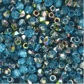 True2 Czech Fire Polished Glass, Faceted Round 2mm, 50 Pieces, Aqua Vitrail