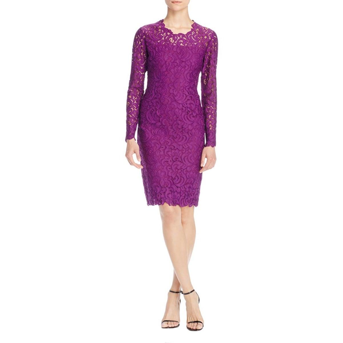 Elie Tahari Womens Bellamy Cocktail Dress Lace Long Sleeves - Free ...