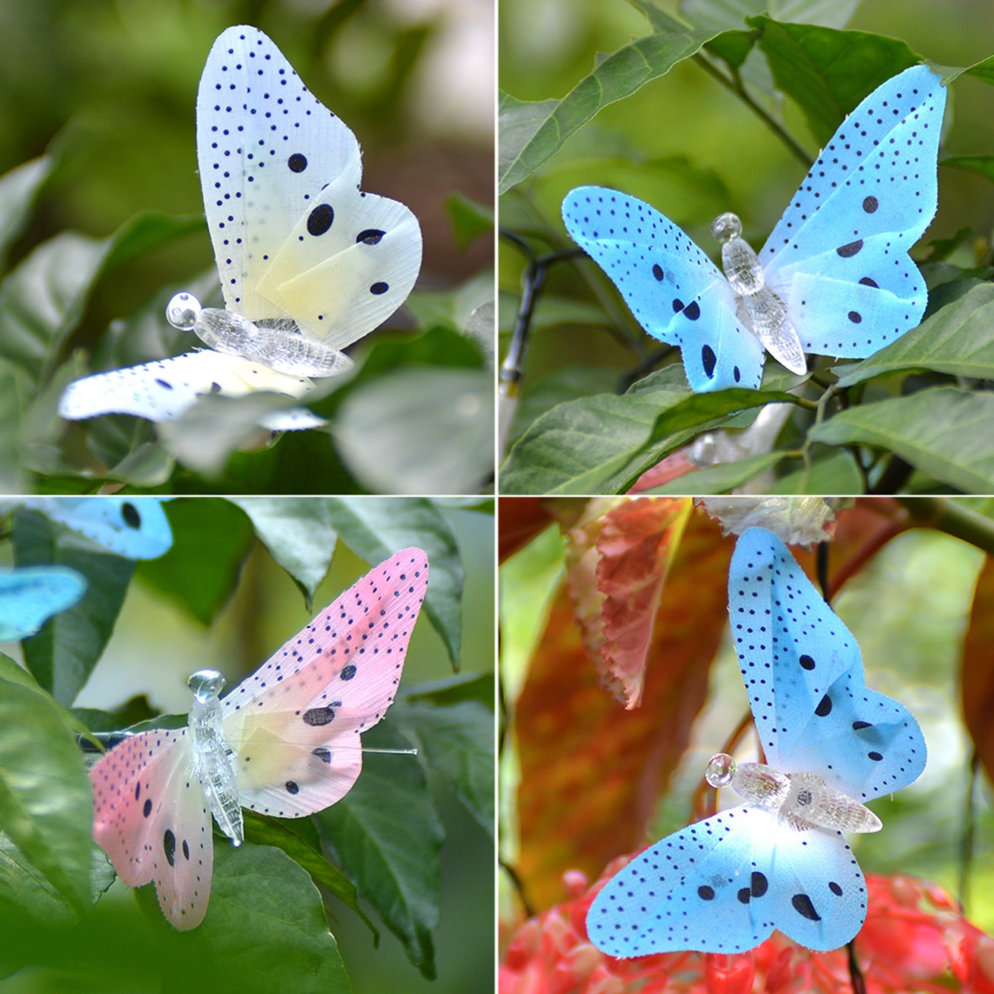 20 LED Outdoor Fiber Optic Butterfly Solar String Light Colorful ...