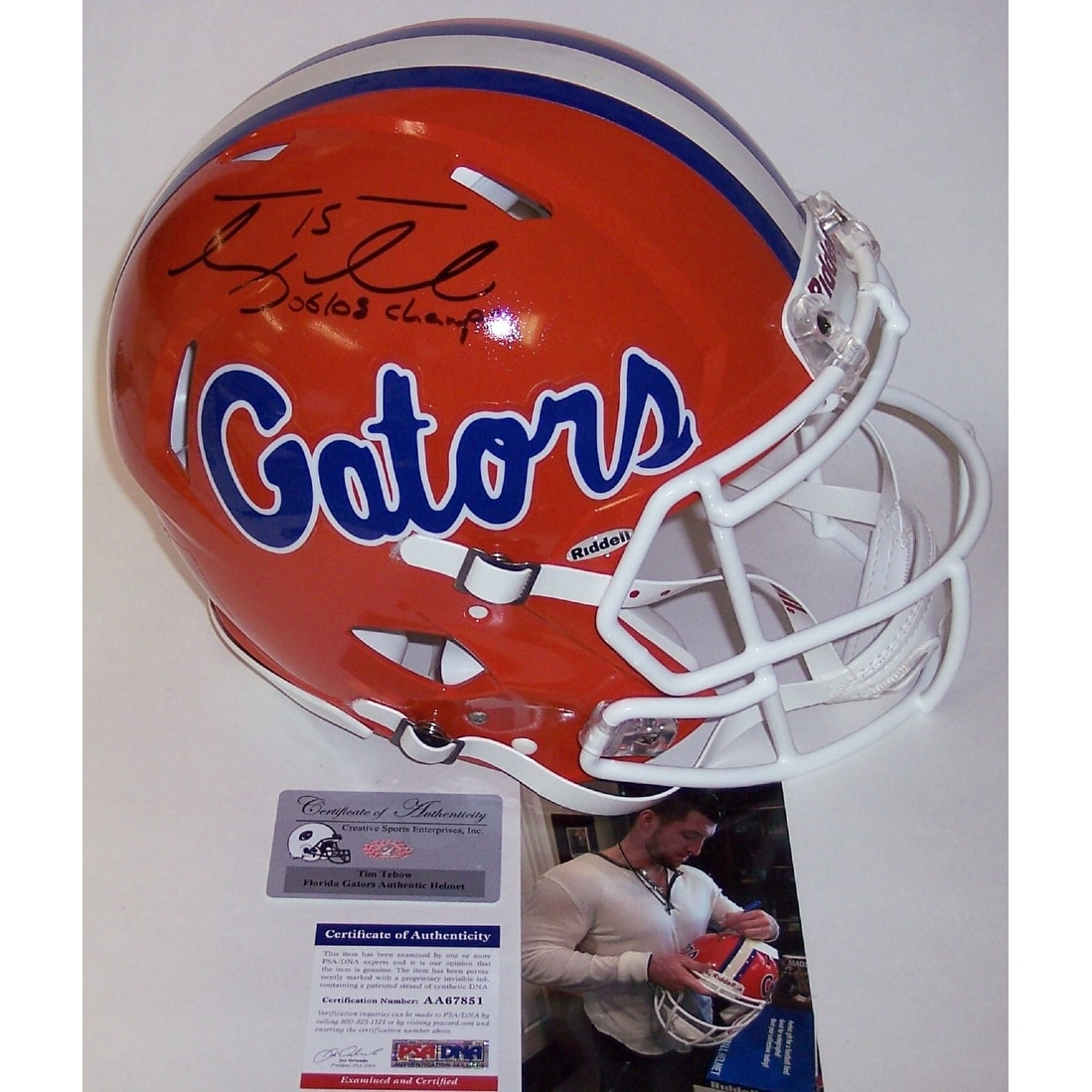 9a8762d81040a Shop Tim Tebow Autographed Hand Signed Florida Gators Speed Revolution Full  Size Authentic Football Helmet PSADNA - Free Shipping Today - Overstock.com  - ...
