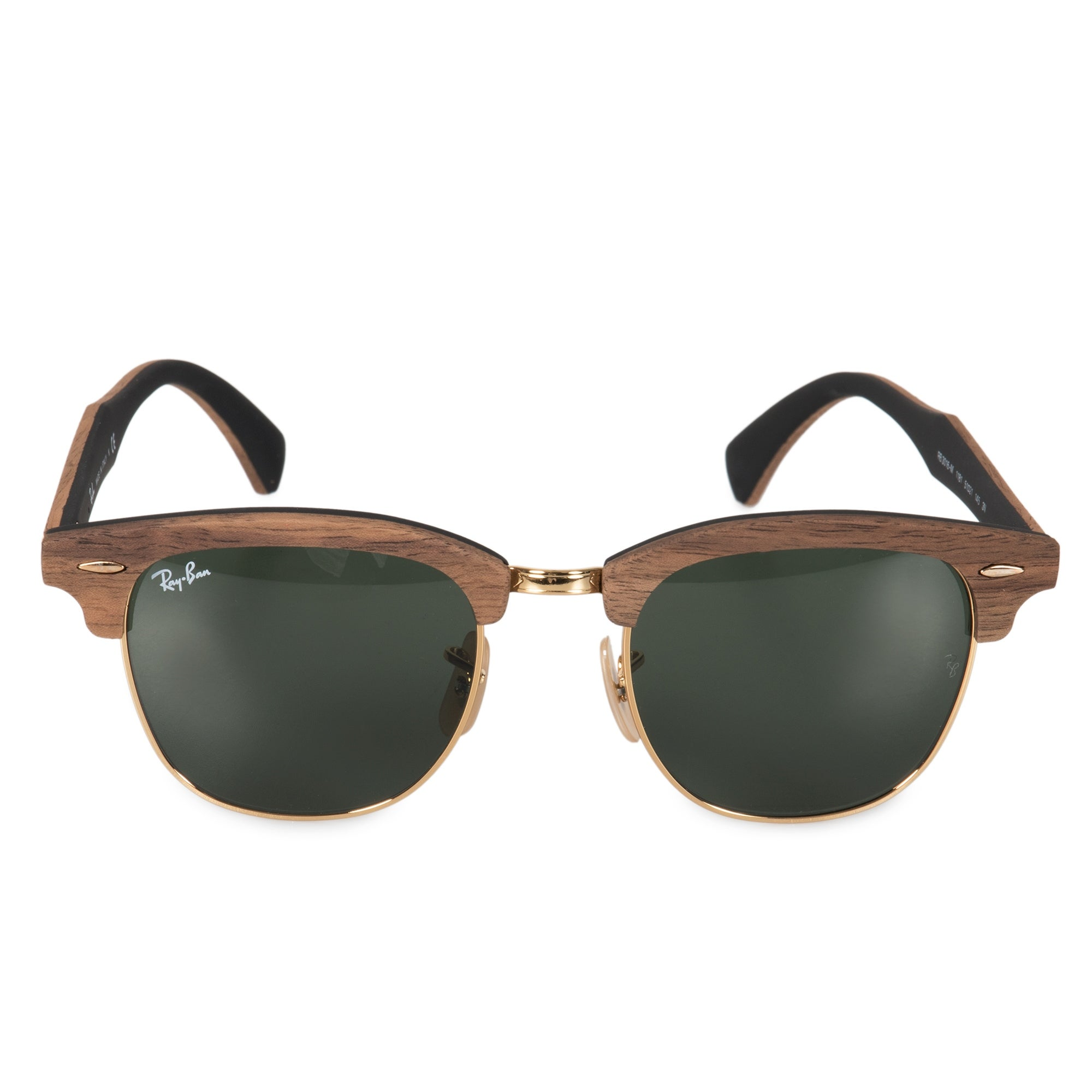 e8c272adeca9 Shop Ray-Ban Clubmaster Wood Sunglasses RB3016M 1181 51 - Free ...