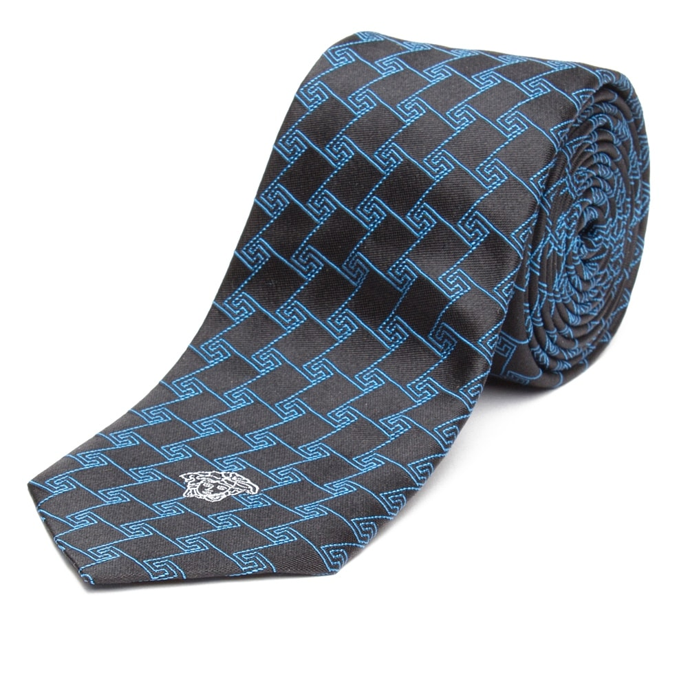 471b8ed0bf5e Shop Versace Men's Slim Silk Medusa Tie Geometric Pattern Black Teal - no  size - Free Shipping Today - Overstock - 20747485