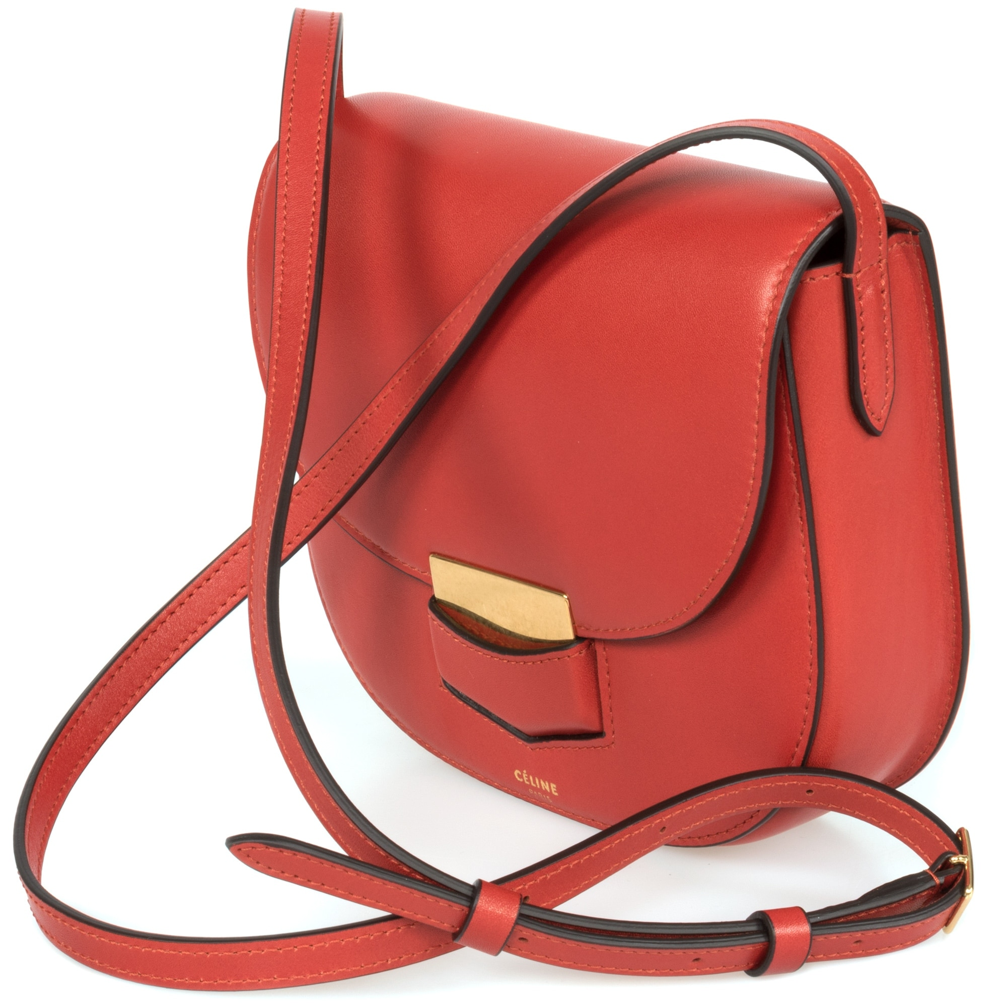 2602a38b1 Shop Celine Trotteur Small Red Calfskin Leather Crossbody Handbag - Free  Shipping Today - Overstock - 23077867