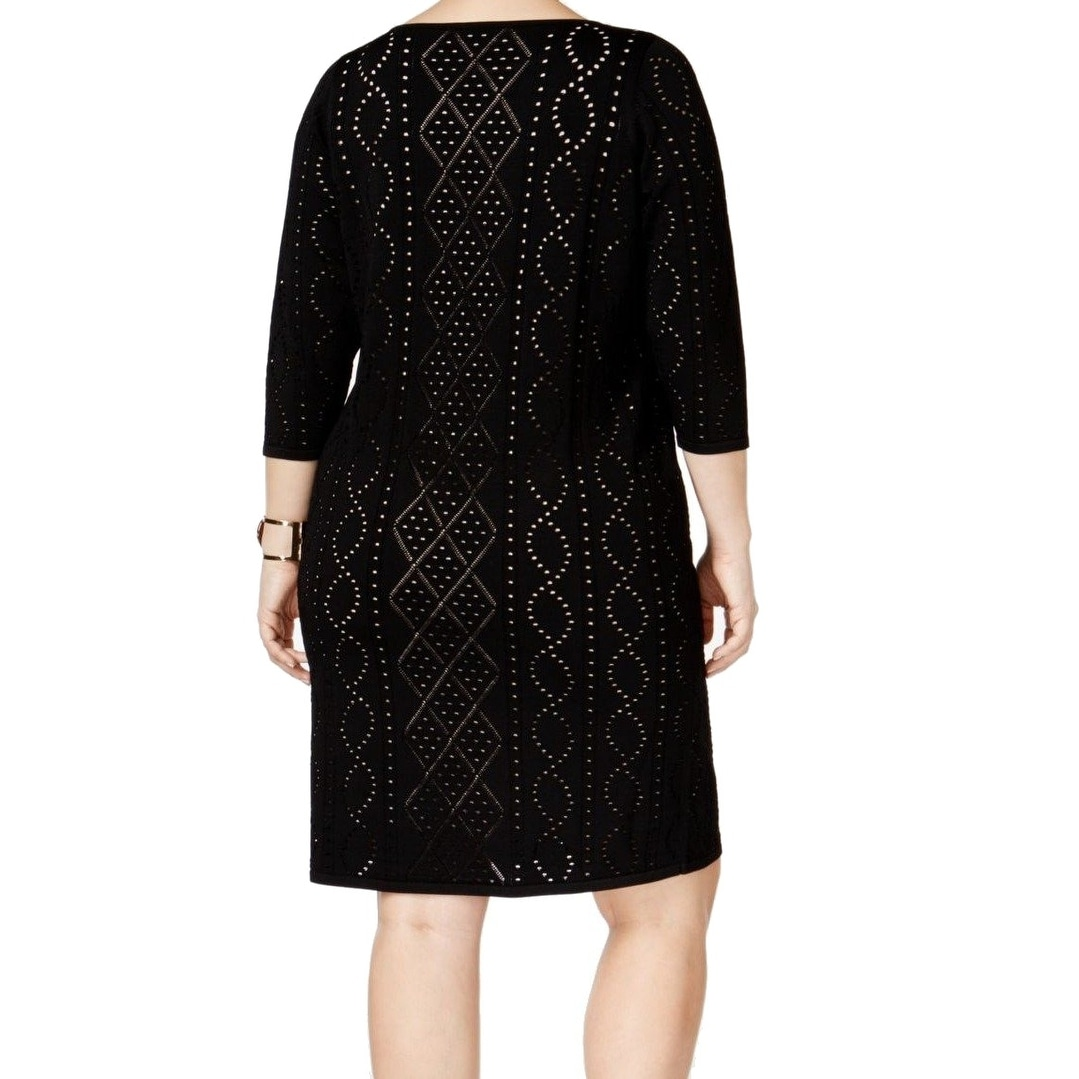 49e576934ec Shop Calvin Klein NEW Black Womens Size 1X Plus Perforated Sweater Dress -  Free Shipping On Orders Over  45 - Overstock - 18287649