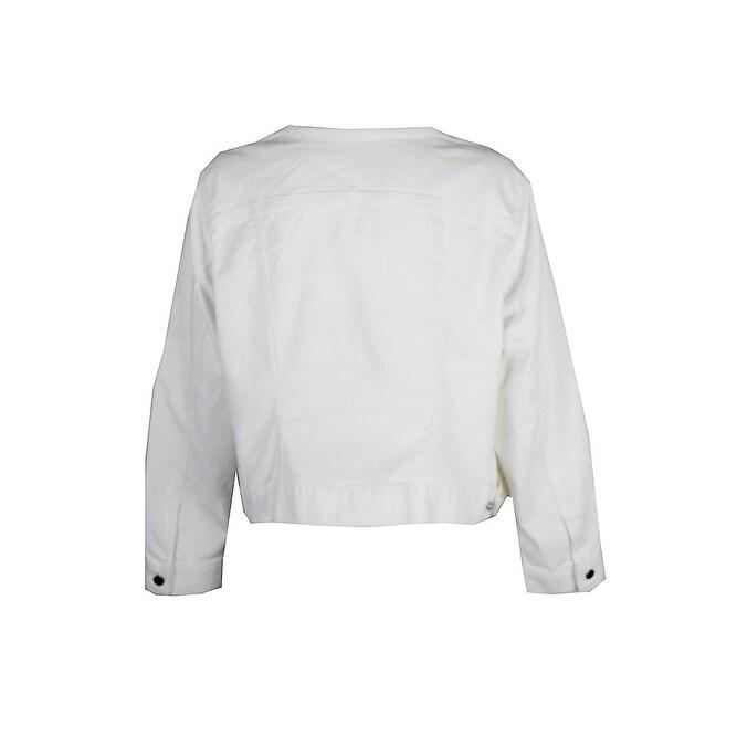 4fde6908714 Shop Lauren Ralph Lauren Plus Size White Collarless Denim Jacket X - 2x -  Free Shipping Today - Overstock.com - 24191988