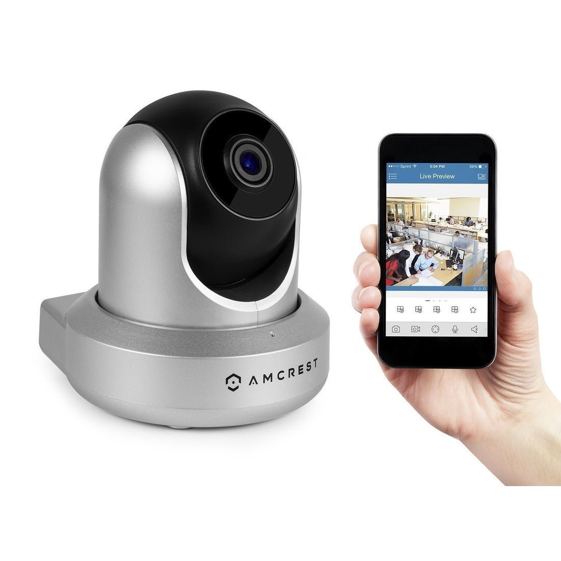Amcrest ProHD 1080P Security Wifi Wireless IP Camera Silver (IP2M-841S)