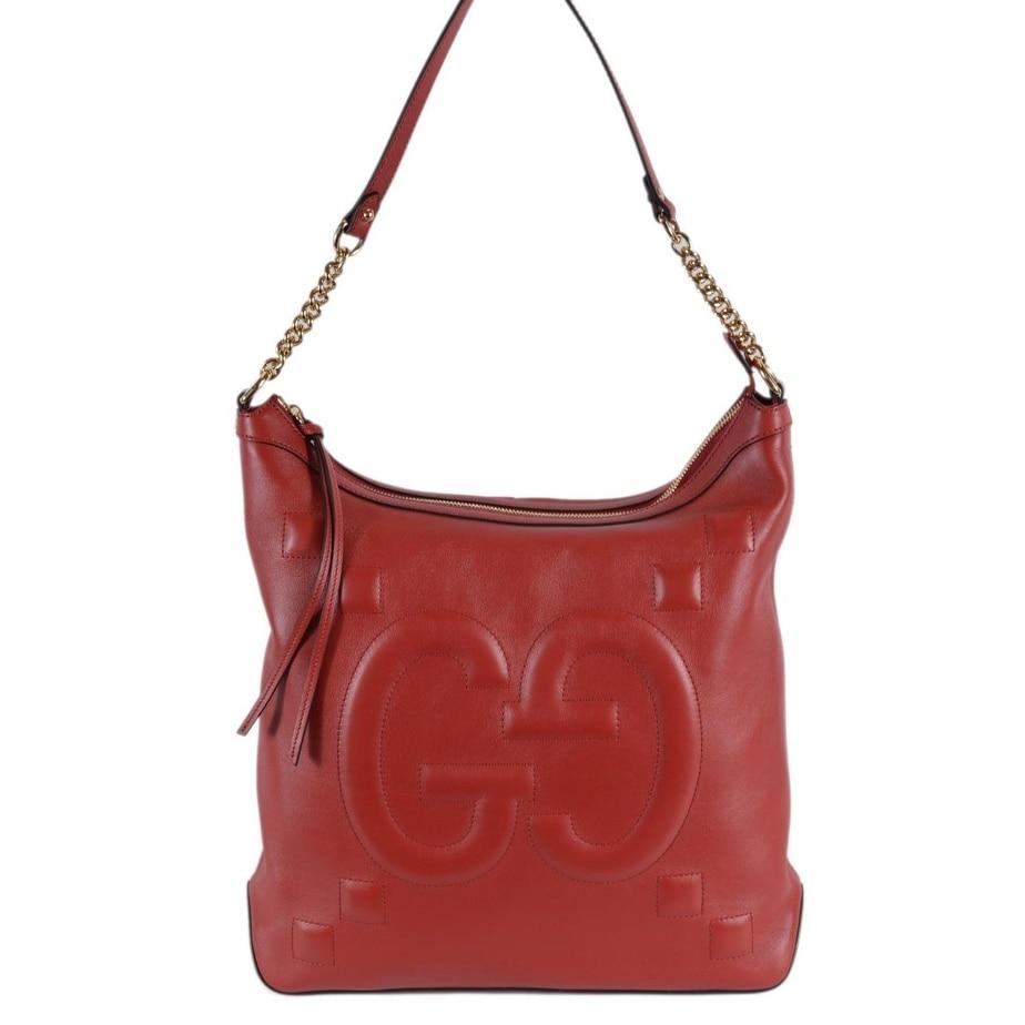 bf52e43bed36 Shop Gucci Women's 453562 Red Leather GG Original Apollo Hobo Purse ...