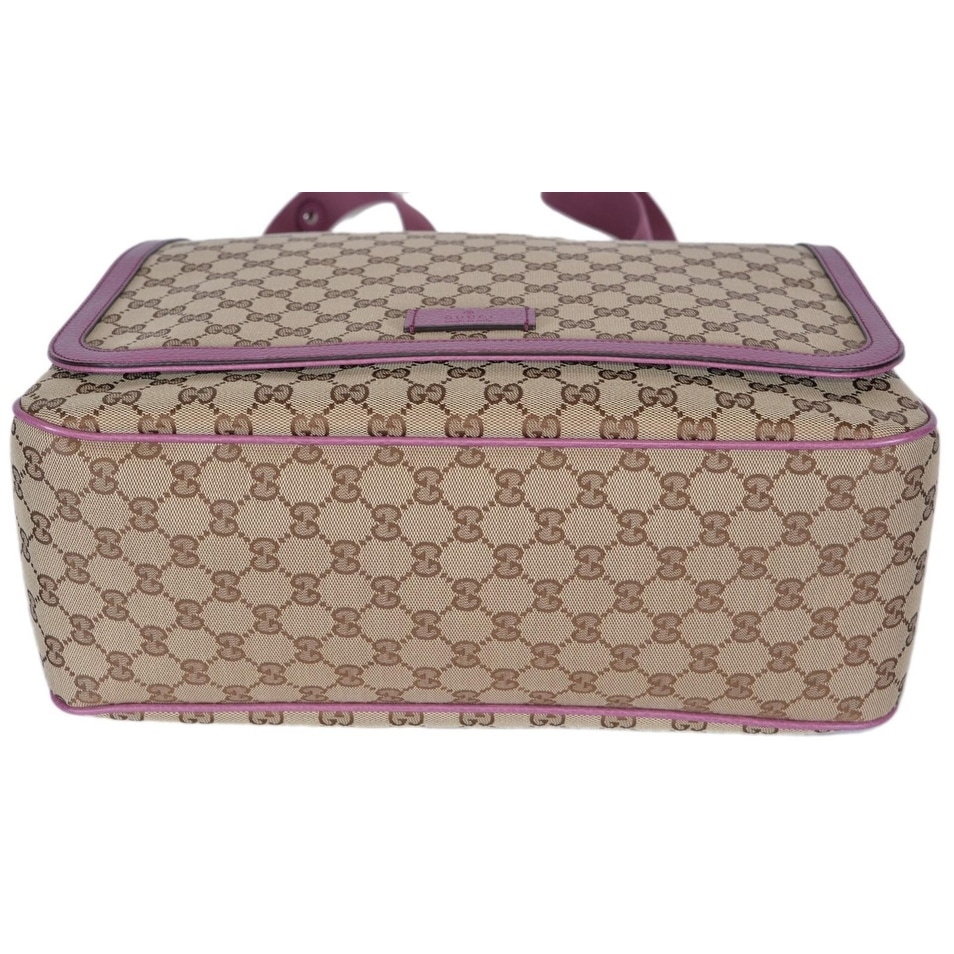 7e75bf9dbc9c Shop Gucci 510340 Beige Pink Original Canvas GG Convertible Diaper Baby Bag  - Free Shipping Today - Overstock - 21380843