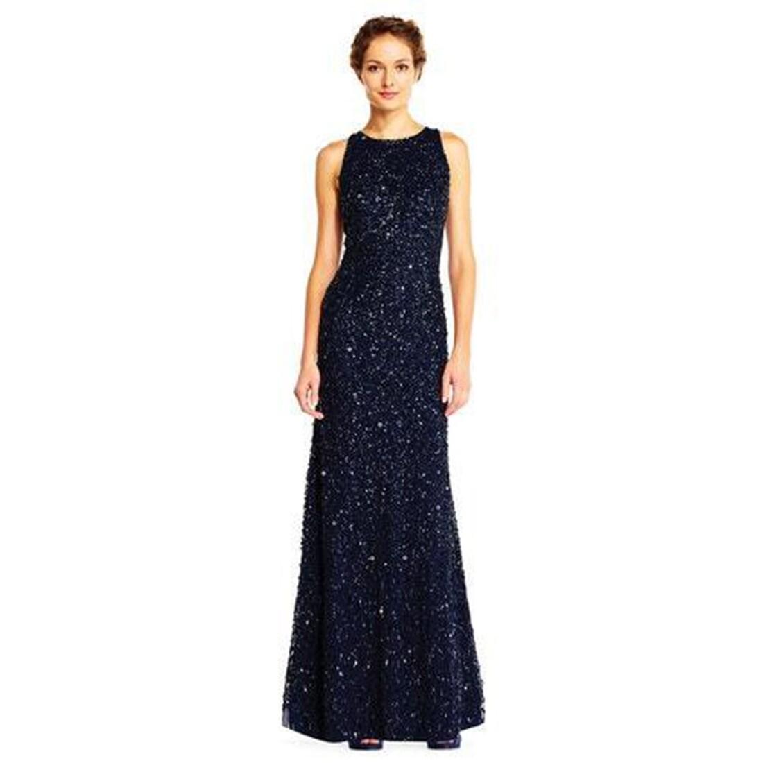 Shop Adrianna Papell Women\'s Sleeveless Beaded Long Halter Gown ...