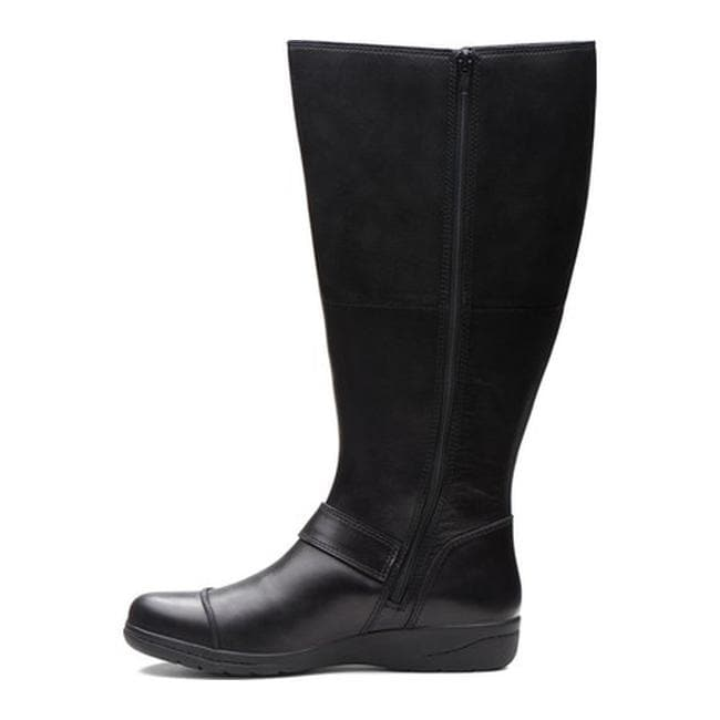 7d70d6f69d9 Shop Clarks Women s Cheyn Meryl Wide Shaft Knee High Boot Black Leather -  On Sale - Ships To Canada - Overstock - 25438297
