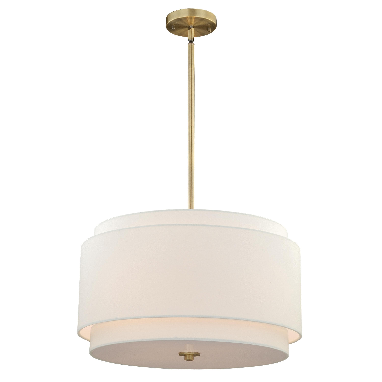 Shop Burnaby 4 Light Brass Mid Century Modern Drum Pendant White Linen 20 5 In W X 15 75 In H X 20 5 In D Overstock 20907334