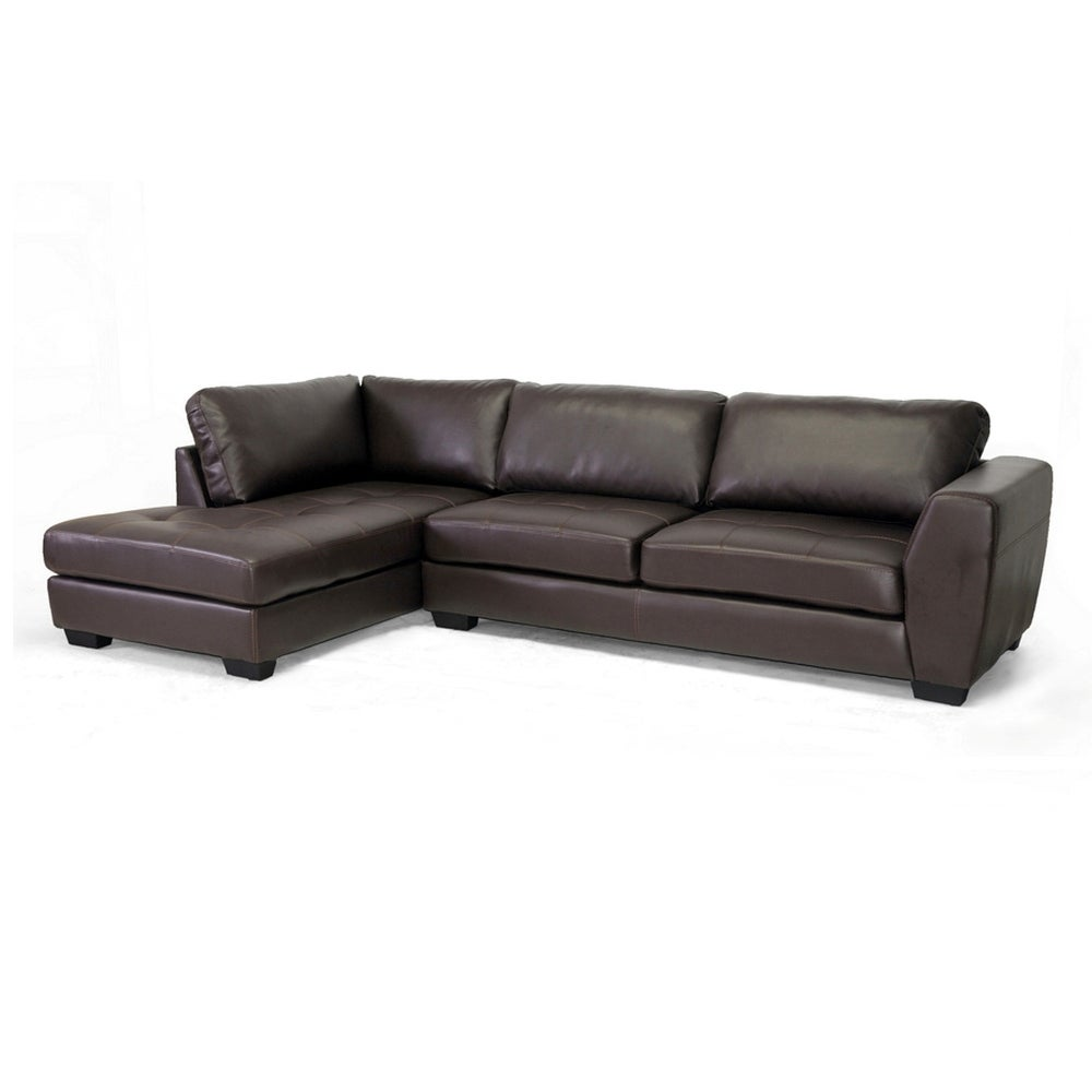 Orland Brown Bonded Leather Sectional Sofa Set W/Left Facing Chaise   Free  Shipping Today   Overstock   27936278